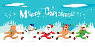 Santa Claus och hans vänner firar jul stock illustrationer