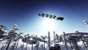 Santa Claus och hjortar Arkivfoto