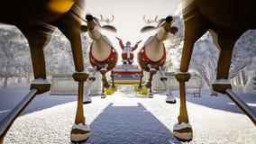 Santa Claus och hjortar Royaltyfria Foton