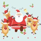Santa Claus och hjortar Royaltyfria Bilder