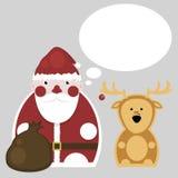 Santa Claus och hjortar nytt år Stock Illustrationer