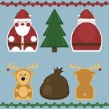 Santa Claus och hjortar Uppsättning Vektor Illustrationer