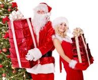 Santa Claus och julflicka. Royaltyfri Foto