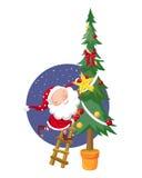 Santa Claus och julgran Arkivfoto