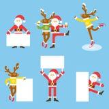 Santa Claus och julren flygarebjörntecknad film tecknar nalle för sky för rolig nivå för hjärtaförälskelsepilot röd Royaltyfri Fotografi