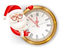 Santa Claus och klocka Royaltyfri Foto