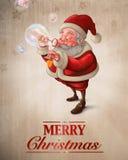 Santa Claus och kortet för bubblatvålhälsning Arkivfoto