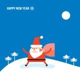 Santa Claus och påse med kortet för hälsning för lyckligt nytt år för glad jul för gåvagåvor Arkivfoton