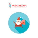 Santa Claus och påse med kortet för hälsning för lyckligt nytt år för glad jul för gåvagåvor Royaltyfri Bild