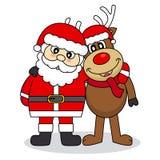 Santa Claus och ren stock illustrationer