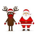 Santa Claus och ren på vit bakgrund Royaltyfria Foton