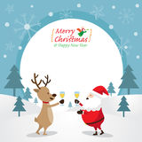 Santa Claus och ren som dricker Champagne, ram Vektor Illustrationer