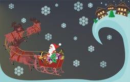 Santa Claus och renar Arkivfoto