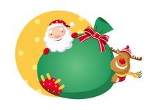Santa Claus och Rudolph Arkivfoton