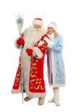 Santa Claus och snöjungfru Fotografering för Bildbyråer