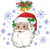 Santa Claus och snowflakes Arkivbilder