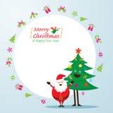 Santa Claus och trädtecken, symboler och ram Royaltyfri Illustrationer