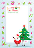 Santa Claus och trädtecken, symboler och ram Stock Illustrationer