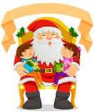 Santa Claus och ungar Arkivbilder