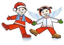 Santa Claus och Xmas-ängel Royaltyfri Bild