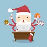 Santa Claus ocupada Fotografía de archivo libre de regalías