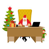 Santa Claus Office. Christmas work. Desk and chair boss. Grandpa Stock Photos