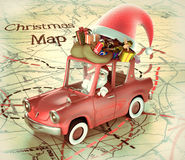 Santa Claus with old car Stock Photography