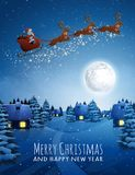 Santa Claus On Deer Flying Sleigh With Reindeers. Christmas Landscape Snow Fir Tree At Night And Big Moon. Concept For Stock Photo