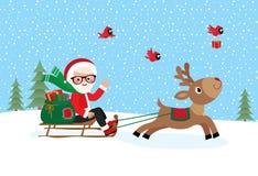 Santa Claus On Sledge Royalty Free Stock Photos