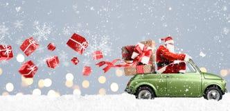 Santa Claus op auto stock afbeeldingen