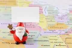 Santa Claus op de kaart van de V.S. Stock Afbeelding