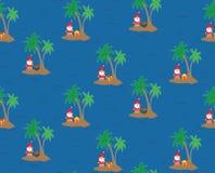 Santa Claus op een eiland - naadloos het herhalen patroon royalty-vrije illustratie