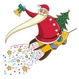 Santa Claus op een rocet Royalty-vrije Illustratie