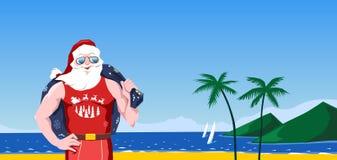 Santa Claus op een tropisch strand royalty-vrije illustratie