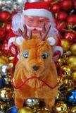 Santa Claus op het rendier Stock Foto
