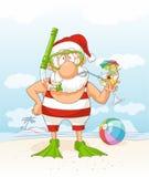 Santa Claus op het Vectorbeeldverhaal van de de Zomervakantie Stock Afbeeldingen