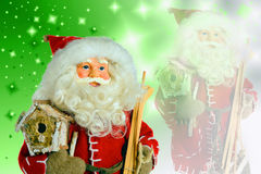 Santa Claus op Kerstmisachtergrond Royalty-vrije Stock Afbeeldingen