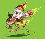 Santa Claus op rendier met vleugels en straalmotoren Stock Illustratie