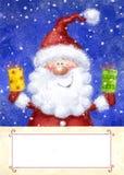 Santa Claus op sneeuwachtergrond De Kerstman op een slee Gelukkig Nieuwjaar Huw Kerstmiskaart Isoleer op wit De giften van Kerstm Stock Foto