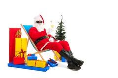 Santa Claus op vakantie stock afbeelding