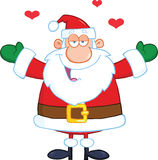 Santa Claus With Open Arms Wanting een Omhelzing Stock Afbeelding