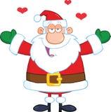 Santa Claus With Open Arms Wanting en kram Fotografering för Bildbyråer