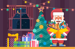 Santa Claus with open box Royalty Free Stock Photo