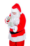 Santa Claus opening gift box Royalty Free Stock Photo