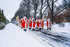 Santa Claus orchestra in renovated public park Royalty Free Stock Images