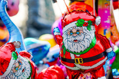 Santa claus and other baloons on christmas Stock Images