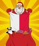 Santa Claus ottiene la bandiera nazionale della Polonia dalla borsa con i giocattoli nello stile di Pop art Illustrazione del nuo royalty illustrazione gratis
