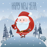 Santa Claus is out of the woods. vector illustration. eps 10 Royalty Free Stock Photo