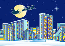 Santa Claus over the city Stock Images