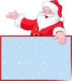 Santa Claus over greeting card Royalty Free Stock Images